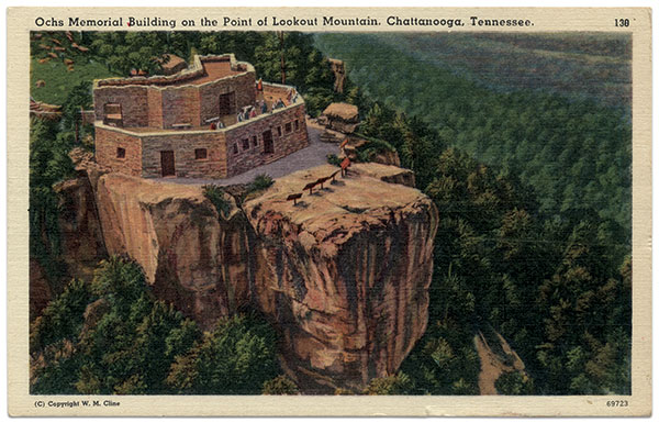 Postcard view of the Ochs Museum and Observatory, built atop the old Linn studio.