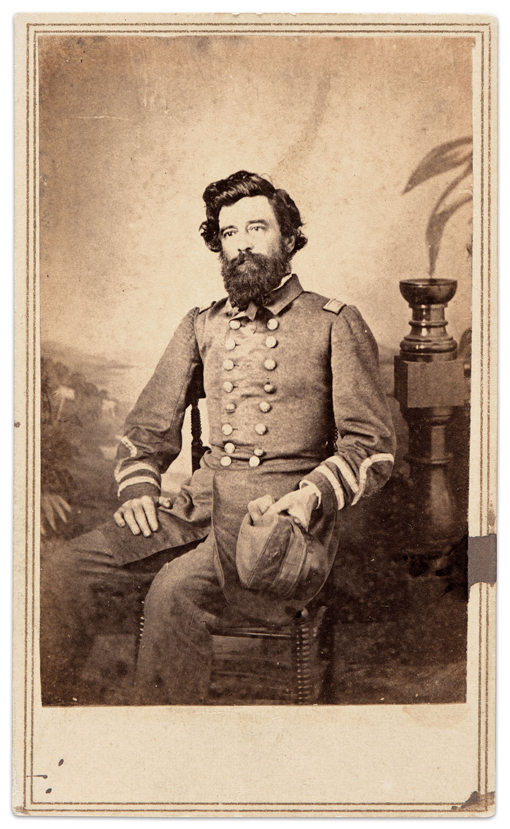 """Capt. John Newland Maffitt pictured in Bermuda, March 1864. On July 17, 1863, Maffitt described the arrival of his vessel and crew in Bermuda, """"Our reception was all that could be desired. To-day, for the first time, the Confederate flag has been saluted by a foreign nation."""" He added, """"At 10 a.m., we hoisted the English ensign at the 'fire' and fired the national salute of twenty-one guns. As soon as we finished, the fort returned, with the same number."""" Courtesy of the Confederate Memorial Literary Society (CMLS) Image Collection, Virginia Museum of History & Culture."""