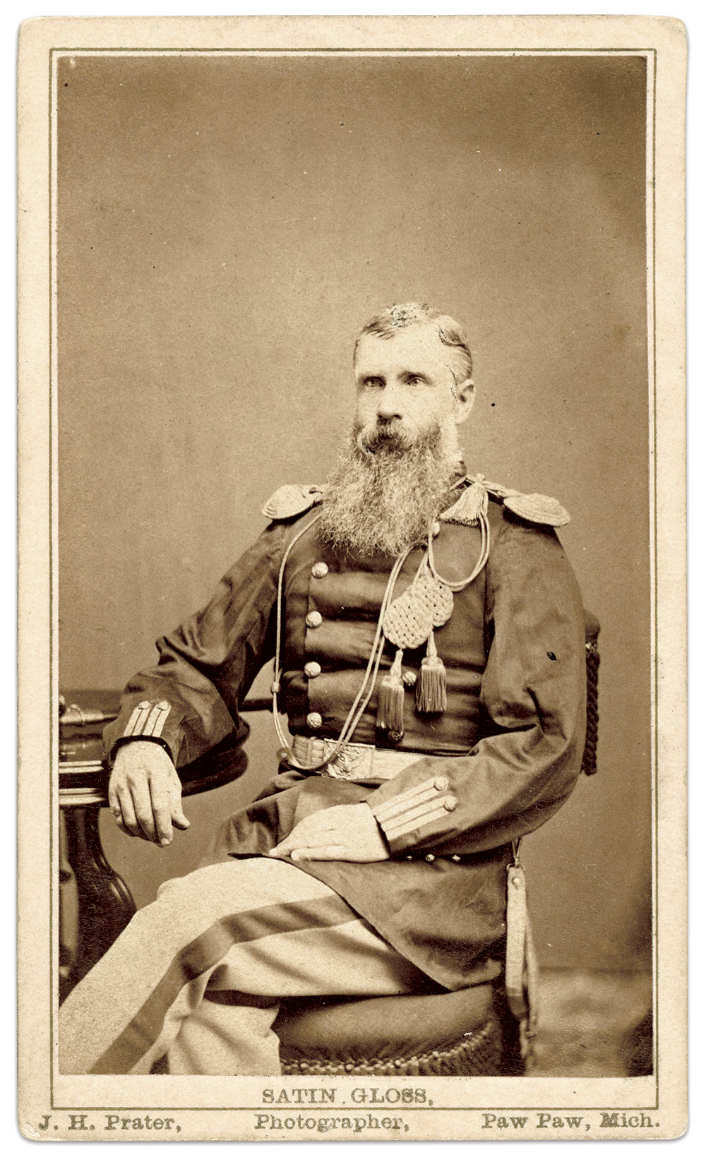 Hugo, pictured as a Regular Army officer after the Civil War. Carte de visite by J.H. Prater of Paw Paw, Mich.