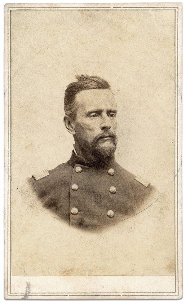 """Philbrick the Fearless: Though history may remember Capt. Chase Philbrick of the 15th Massachusetts Infantry for mistaking a row of trees as enemy tents at Ball's Bluff, he won high praise for his overall conduct during the engagement. An anecdote in the regimental history underscores his value: A Massachusetts lady sent Col. Charles Devens Jr., a pair of socks with a request that they be given to the bravest man in the battle. """"I can hardly decide who was the bravest man,"""" Devens explained, """"but I bestowed them upon Captain Philbrick, Company H, who commanded the advance guard of the Fifteenth Regiment, and told him to wear them until I found a braver man in the fight. I think they will be worn out before I do."""" Devens was correct. Philbrick, a New Hampshire-born stonecutter, proved himself a fearless, natural military leader from Ball's Bluff to the Peninsula Campaign, Antietam and Fredericksburg. In the latter engagement he suffered a gunshot wound in the right ankle, and this injury, combined with chronic poor health, prompted his resignation in April 1863. By this time he had advance to lieutenant colonel of the 15th. Philbrick became prominent in the law enforcement community as a policeman and detective, and served a stint as marshal of Lawrence, Mass. He died in 1893. Carte de visite by Kimball of Concord, N.H. Collections of the Worcester Historical Museum, Worcester, Mass."""