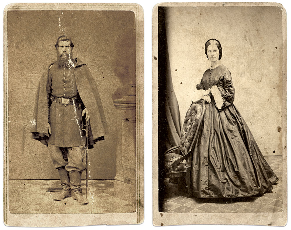 Hugo as a captain in the 70th New York Infantry, and his wife, Mary. Cartes de visite of Hugo by J.J. Ardwell of Detroit, Mich., and Mary by Partridge of Bridgeport, Conn.