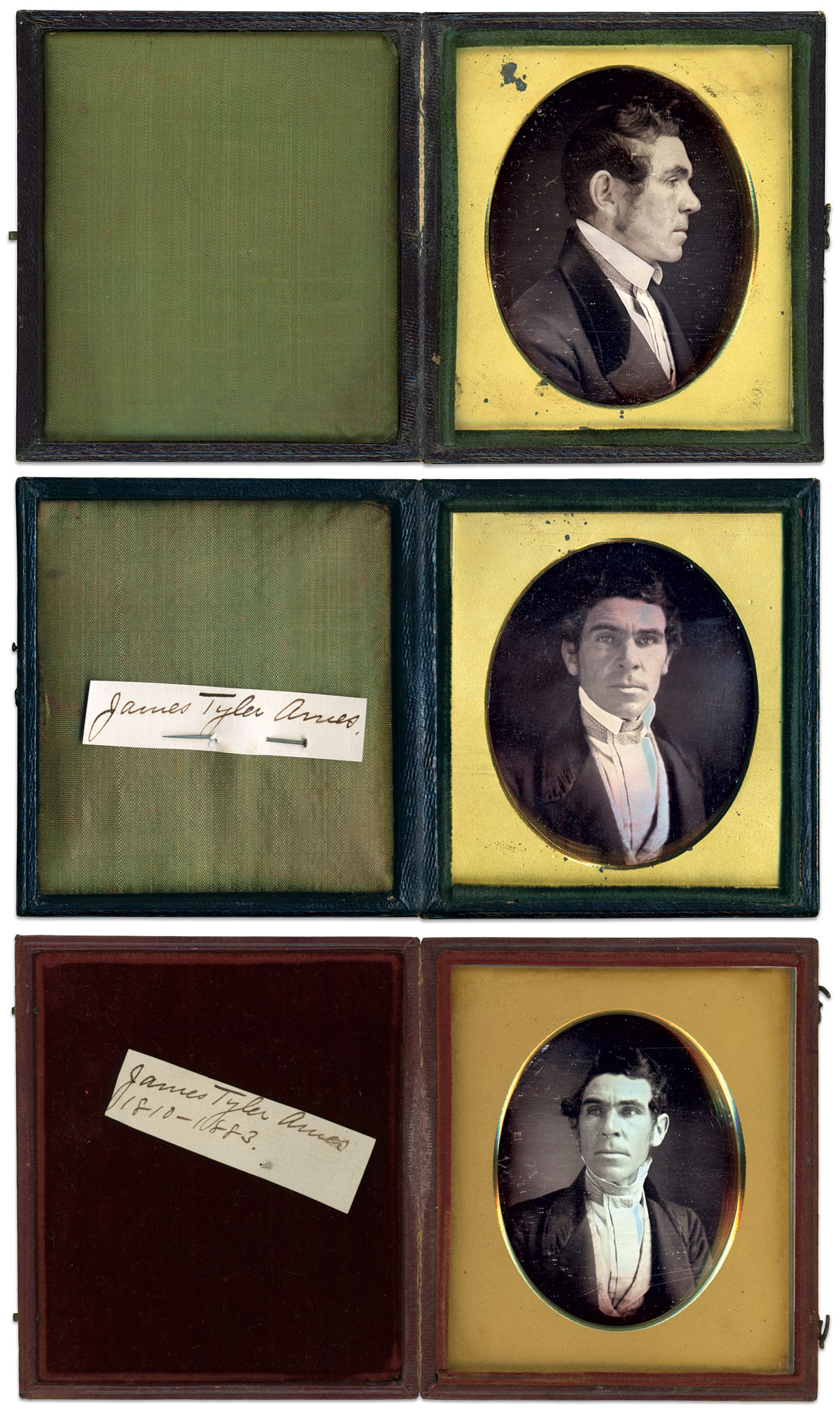 These daguerreotypes of Ames are believed to be made in 1845 after his association with the Boston Associates, who invested in his growing business.