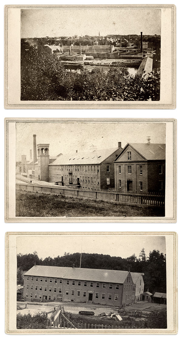 These circa 1863 cartes de visite by John C. Spooner of Springfield, Mass., include a view, top, of the Ames factory taken from the bluffs along the Chicopee River. The town of Chicopee is beyond the factory. Another image, center, pictures the factory 180 degrees from the previous view and from across the canal. These buildings remain in use and have been converted to condominiums. The bottom image pictures the Gaylord factory taken from the Grape Street bridge over the canal.