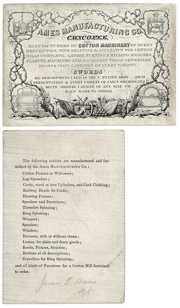 Ames likely carried this trade card while crisscrossing the  Southern states in 1850 and promoting cotton production machinery.