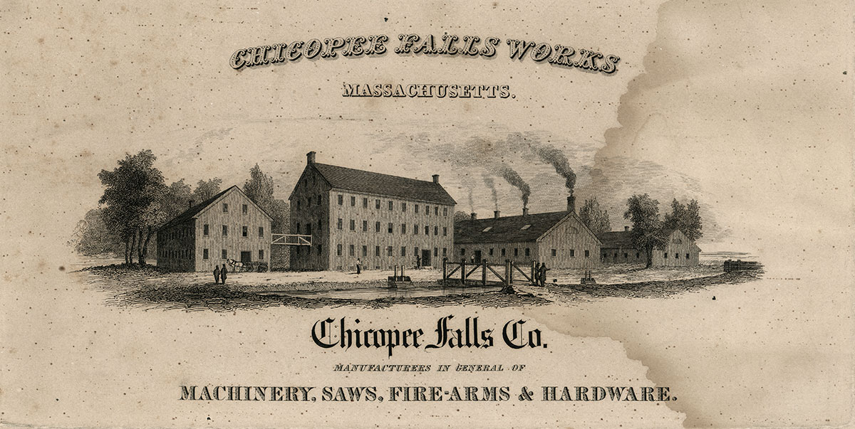 The lithograph pictures buildings owned by Edmund Dwight in the 1830s. They are the same buildings occupied and eventually purchased by Ames and later transferred to the Massachusetts Arms Company.