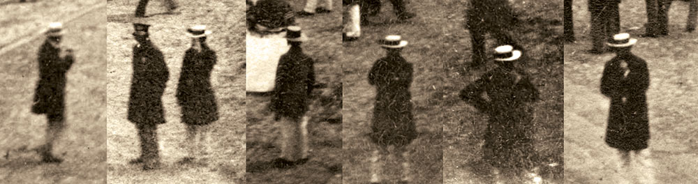 MYSTERY MAN: This individual appears in six of the nine stereoviews. He may be photographer Edward Anthony.