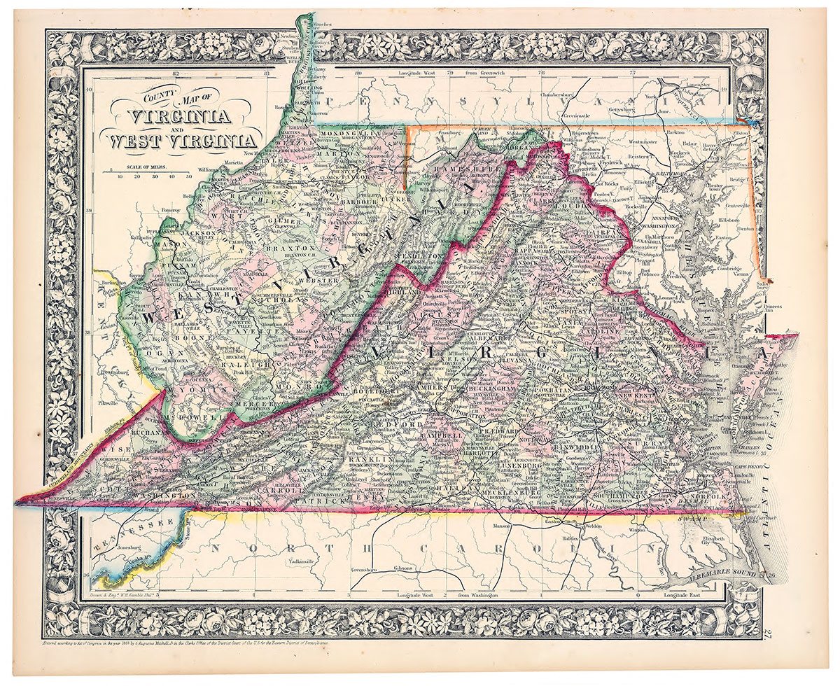 County map of West Virginia and Virginia, circa 1863, by Samuel AugustusMitchell. Library of Congress.