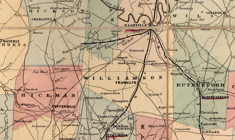 Hickman County is located about 60 miles southwest of Nashville and 75 miles west of Murfreesboro. Centreville (today spelled Centerville) is the county seat. Library of Congress.