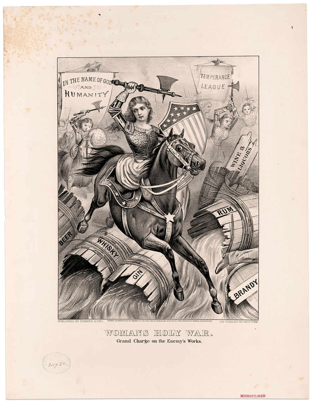 """ALCOHOL ABUSE WARRIOR: Evans fought the evils of alcohol with a fervor exceeded by this unrelated romantic figure, titled """"Woman's Holy War. Grand Charge on the Enemy's Works"""" by Currier & Ives in 1874. Library of Congress."""