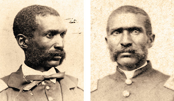 """CASE STUDY: Searching this full-length carte de visite, right, of William D. Matthews (or Mathews) yielded 28 search results with the matching bust view, left, ranked No. 7. Applying the """"Union"""" army and """"First Lieutenant"""" rank filters improved the position of the matching photo to No. 2. Images: Kansas State Historical Society."""