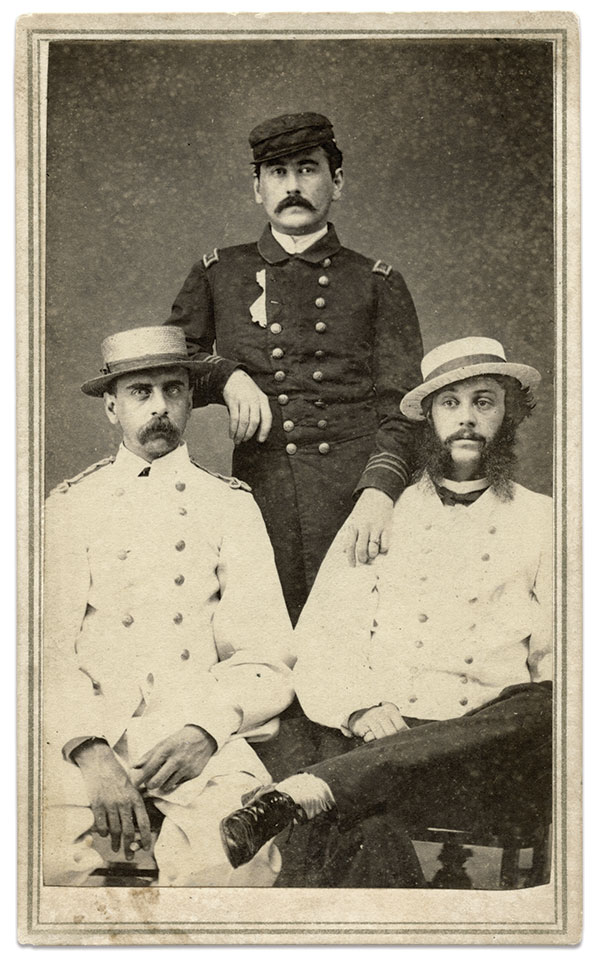 Four years after the loss of the Hatteras, Surg. Matthews, standing, posed for tis portrait with Marine Lt. Charles Allyn Stillman, left, and Asst. Paymaster Charles E. Boggs. Carte de visite by E. Herbruger Jr. of Panama. Author's collection.