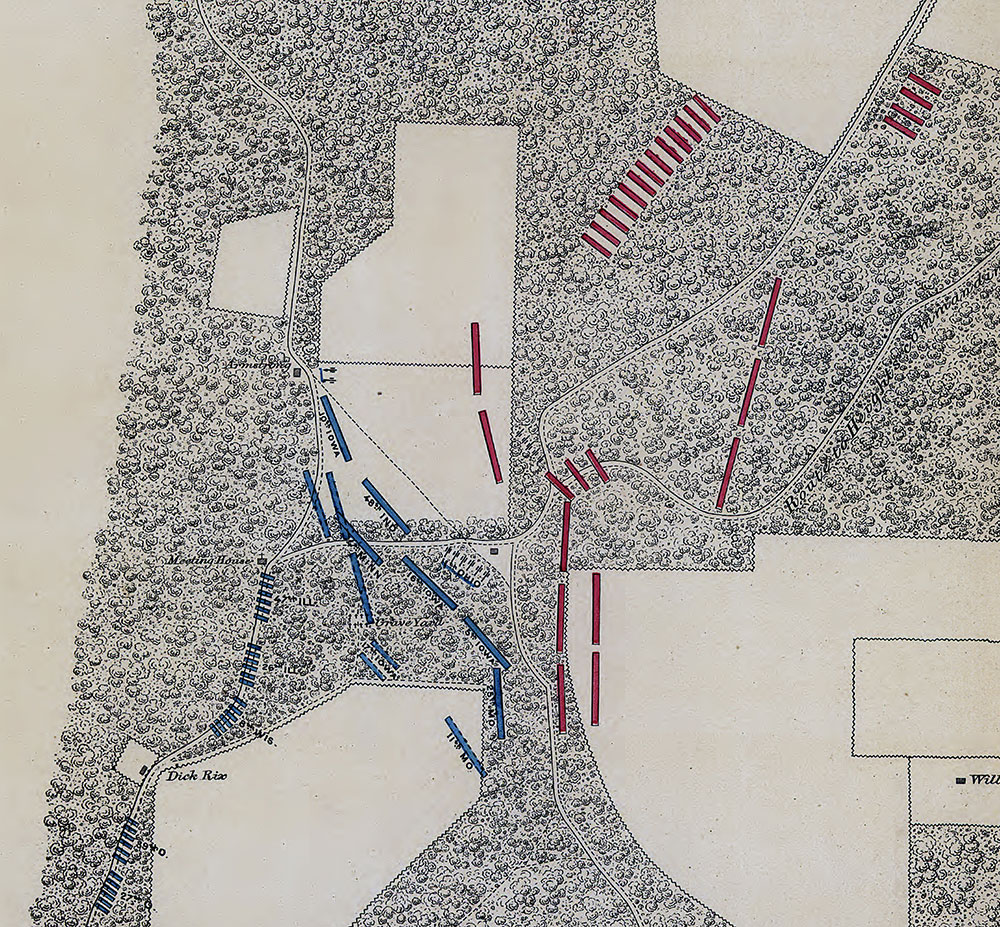 The stage is set for mortal combat: This detail of a map of the Battle of Iuka indicates the 5th Iowa positioned to the right of the exposed 11th Ohio Battery. Library of Congress.