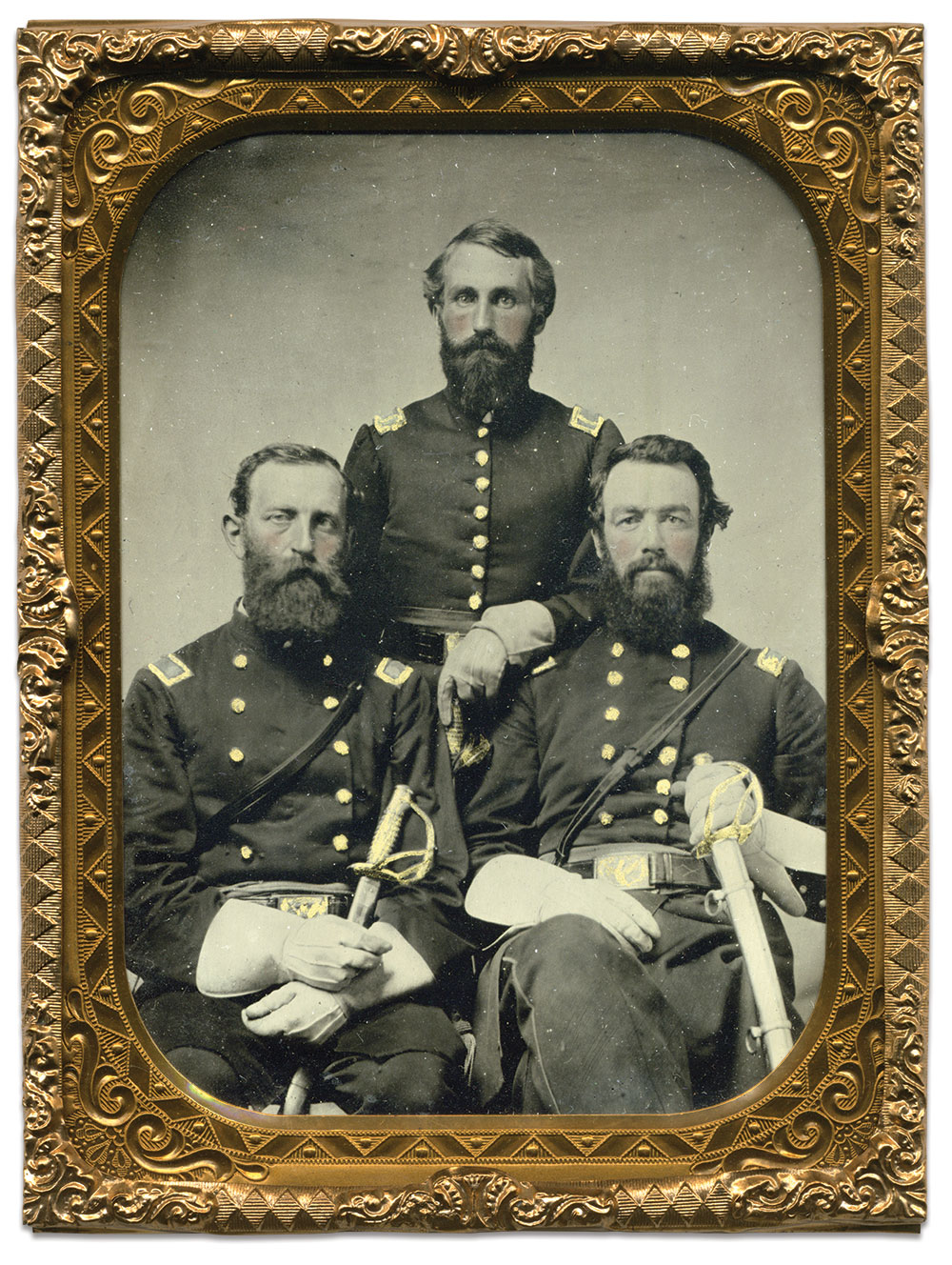 Col. Charles L. Matthies, left, 1st Lt. and Adjutant Robert F. Patterson, center, and Maj. William S. Robertson. Author's collection.