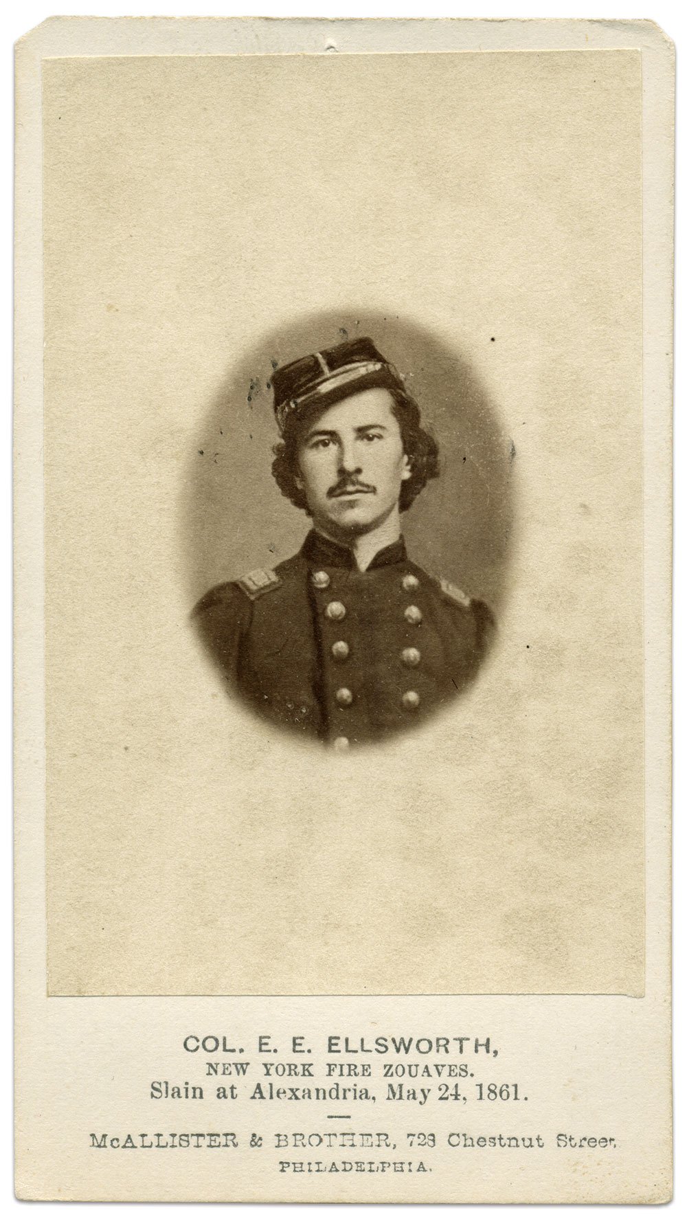 Carte de visite by McAllister & Brother of Philadelphia, Pa. Michael J. McAfee Collection.