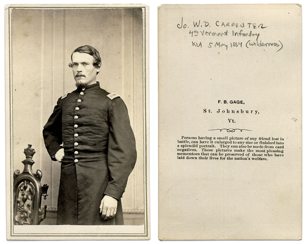 Carte de visite by F.B. Gage of St. Johnsbury, Vt. Michael J. McAfee Collection.