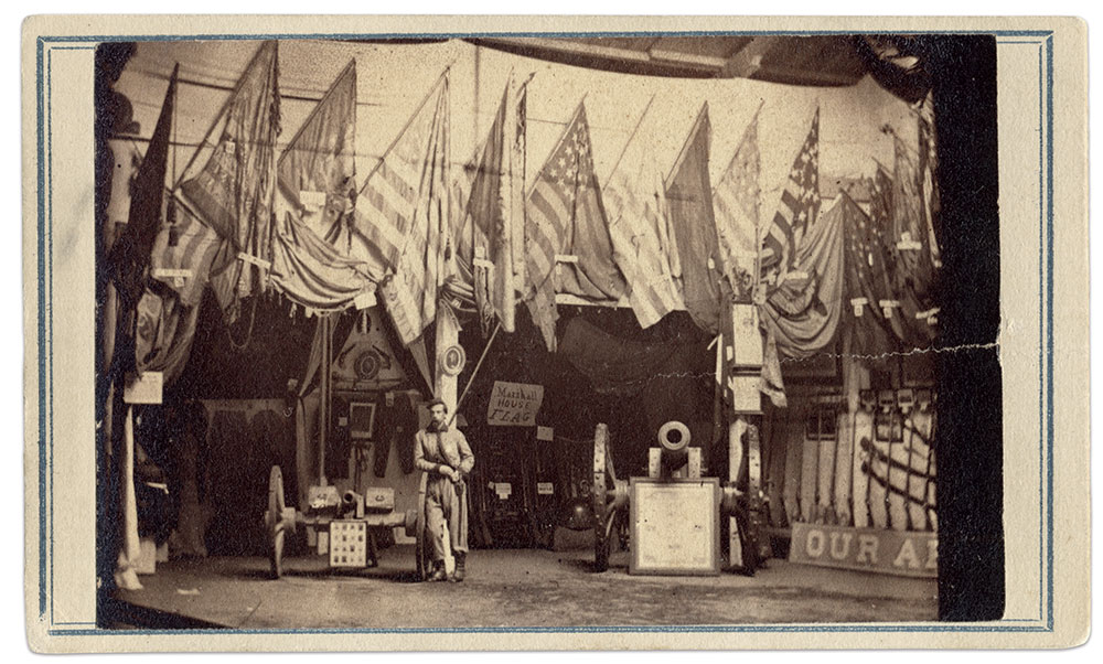 """Francis E. Brownell was among the notables who visited the 1864 Army Relief Bazaar in Albany, N.Y. He is dressed in the uniform of the 11th New York Infantry, or """"Fire Zouaves,"""" which he wore on May 24, 1861, when he shot and killed James W. Jackson in Alexandria, Va. Jackson, the proprietor of the Marshall House Inn, had killed Brownell's colonel, Elmer E. Ellsworth, after he removed a Confederate  flag from the roof of the hotel. Brownell went on the serve as an officer in the regular army. In 1877, he received the Medal of Honor for avenging Ellsworth's death. Carte de visite by Churchill & Dennison of Albany, N.Y. Michael J. McAfee Collection."""