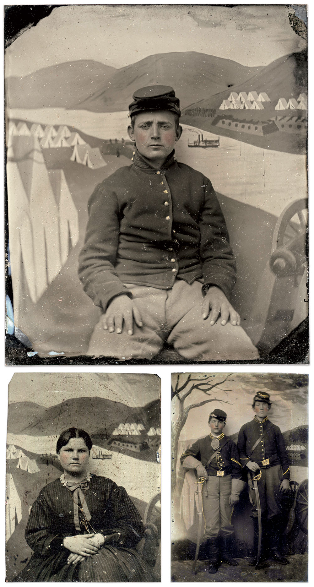Clockwise from top: Sixth-plate tintype. Jeff McArdle Collection; Sixth-plate tintype. Jan Pentz Collection; Eighth-plate tintype. Tom Molocea Collection.