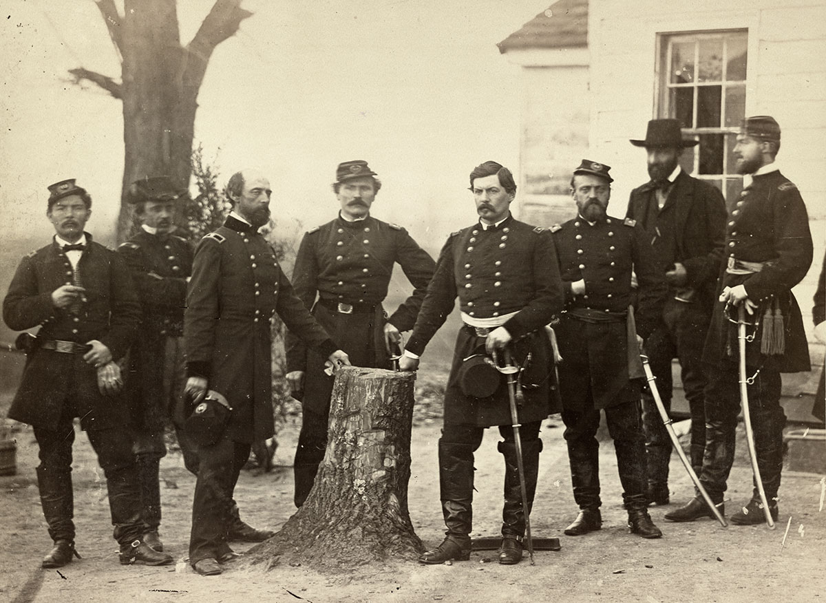Dressed in civilan garb, The Prince de Joinville stands with Maj. Gen. George B. McClellan and staff in this 1862 image. To the right of the Prince is his nephew, the Comte de Paris. Flanking McClellan is Lt. Col. Albert V. Colburn (left) and Lt. Col. Nelson B. Switzer. Library of Congress.