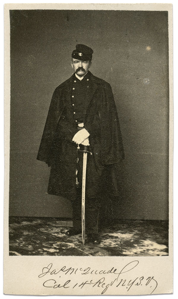 Col. James McQuade proved an able leader during the Peninsula Campaign. He ended the war as a brevet major general and went on to serve two terms as mayor of his hometown of Utica, N.Y. He died in 1885. Carte de visite by an anonymous photographer. Dick Tanner Collection.