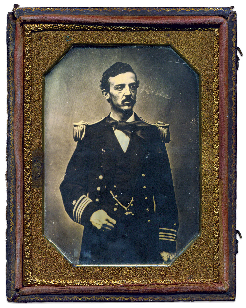 Richard Worsam Meade, U.S. Navy. Quarter-plate tintype by an anonymous photographer. Jim Quinlan Collection.