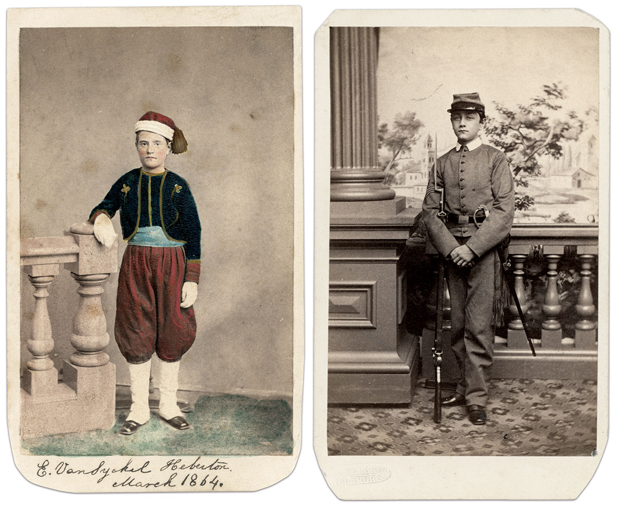 Left: The young Zouave pictured in this carte de visite, dated March 1864, wears the same uniform as that of the prewar militia company known as the Philadelphia Zouave Corps. Carte de visite by Edward P. Hipple of Philadelphia, Pa. Right: Armed with a child-size musket and an ivory-hilted sword, this youth's uniform matches the Philadelphia Cadets. Carte de visite by Frederick Gutekunst of Philadelphia, Pa.