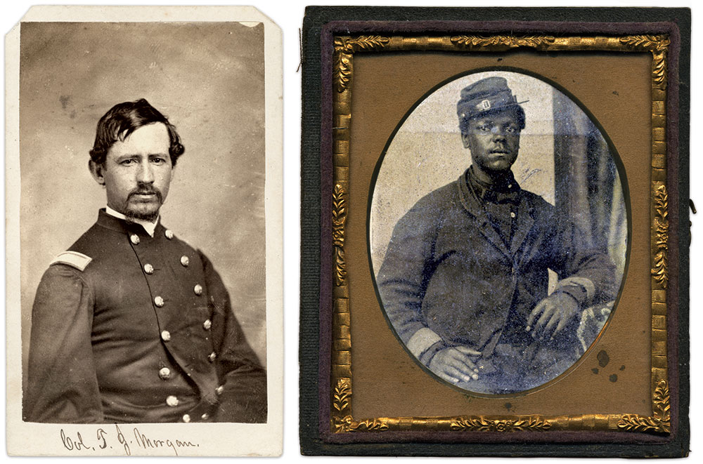 """Col. Morgan and Pvt. Alexander: Thomas Jefferson Morgan, left, wrote of his family and early life: """"My grandfather was a slaveholder. My father was an Abolitionist. While a student in college I learned to believe in the doctrine of the brotherhood of man and to hate slavery."""" One of the men he recruited for the 14th, Tennesseean George Alexander, right, served in Company I. Carte de visite by an anonymous photographer. Vincent Caviglia Collection; Sixth-plate tintype by an anonymous photographer. Cindy and Clint McCauley Collection."""