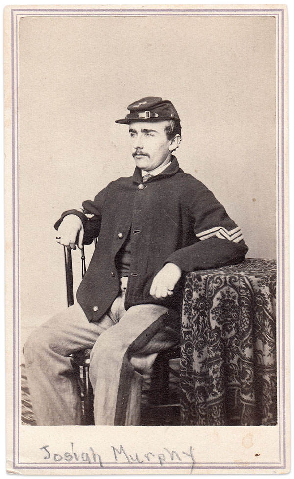 Sgt. Josiah Fitch Murphey in 1864. His scarred right cheek is hidden from view. Carte de visite by Freeman & Coffin of Nantucket, Mass. Author's Collection.