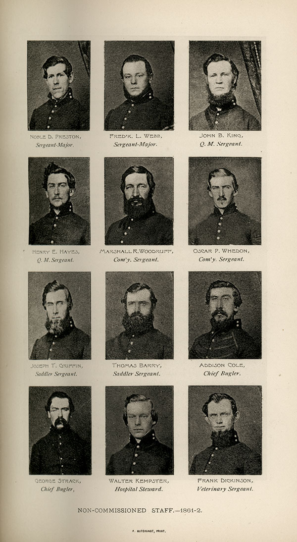 This page in the regiment's History of the Tenth Regiment of Cavalry New York State Volunteers, August, 1861, to August, 1865, almost mirrors the contents of three albums.