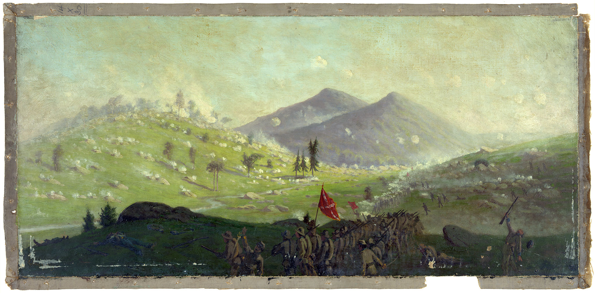 Artist Edwin Forbes depicted the action at Little Round Top in this 1865 painting. Library of Congress.