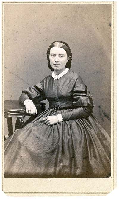 "Elizabeth ""Lizzie"" Carter Vincent, the widow of Col. Strong Vincent, about 1865. Carte de visite by Davis of Hartford, Conn. Author's collection."