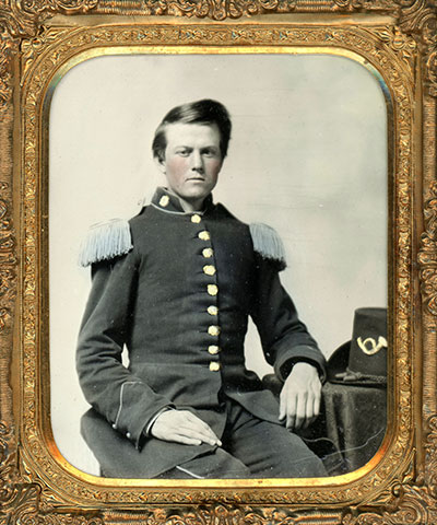 Norton posed for this portrait inApril 1861. Sixth-plate ambrotype in the author's collection.