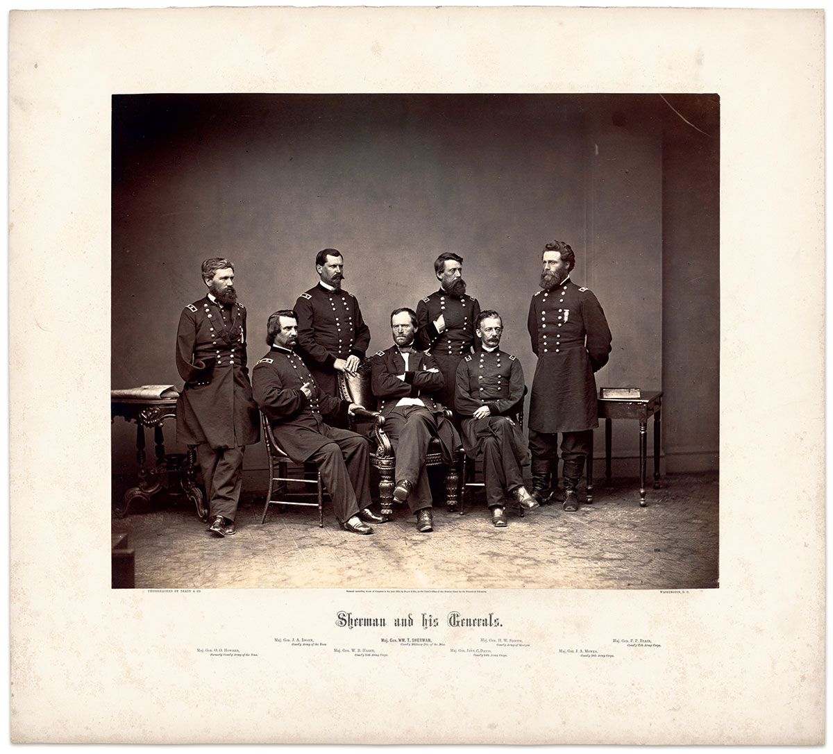 NEAR PRISTINE: This albumen of Maj. Gen. William T. Sherman and his generals soon after they played a signifcant role in ending the Southern rebellion has been spared the ravages of time which have discolored and faded many prints of the Civil War period. National Portrait Gallery.