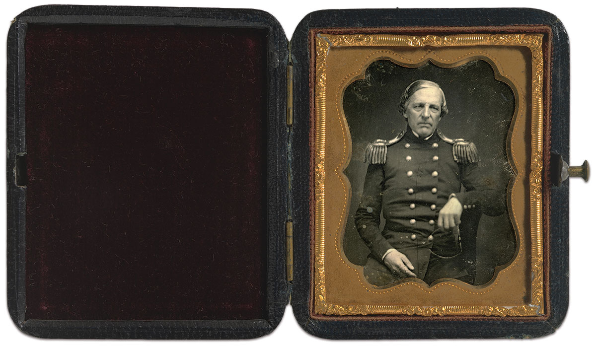 Cooper, pictured as a federal colonel, about 1856. Ninth-plate daguerreotype by Joseph White. National Portrait Gallery.