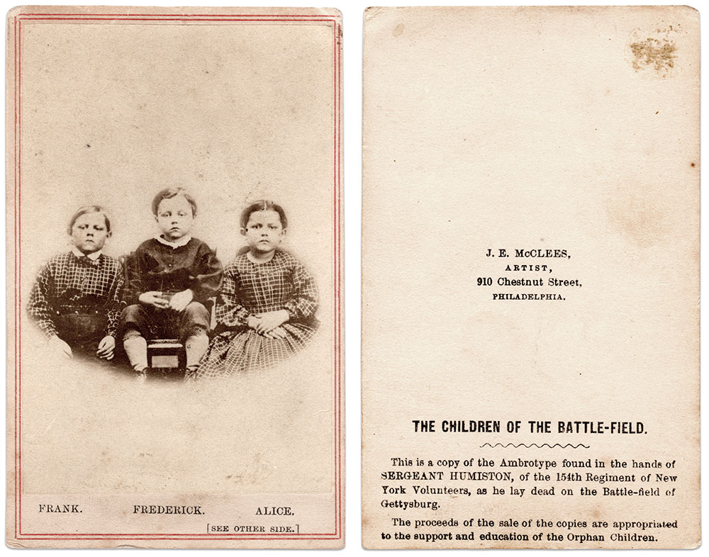 The quality of reproduction of the Humiston children ambrotype varies. This post-identification carte by James E. McClees is one of the better examples. Richard Leisenring, Jr. Collection.