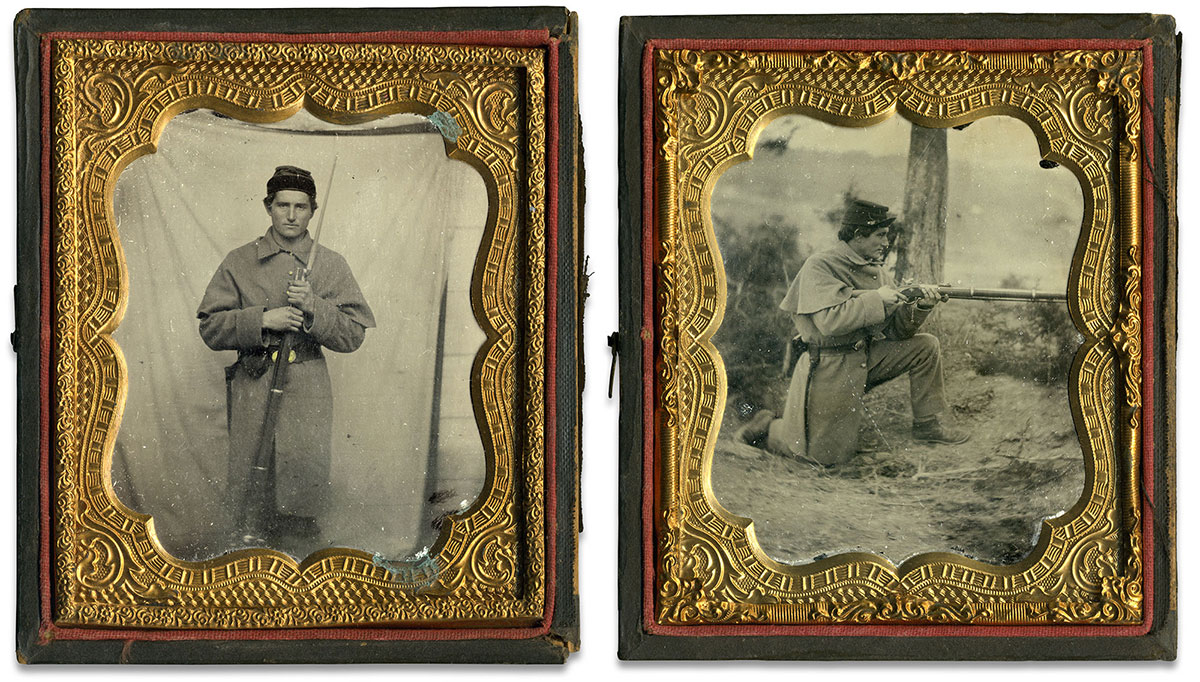 Sixth-plate ruby ambrotypes by an anonymous photographer.