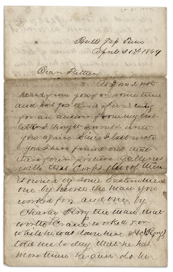 The first of the four-page letter. Indiana State Library Manuscripts Small Collections.