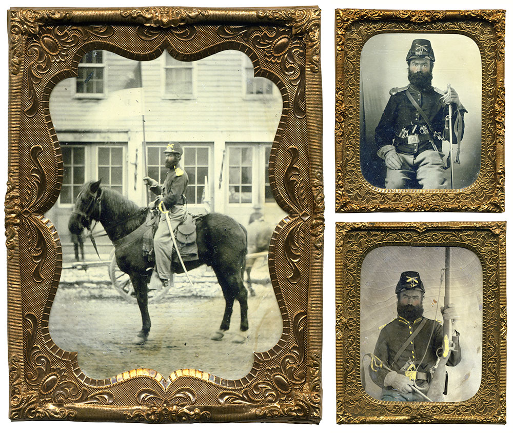 Quarter-plate, left, and two sixth-platetintypes by an anonymous photographer.