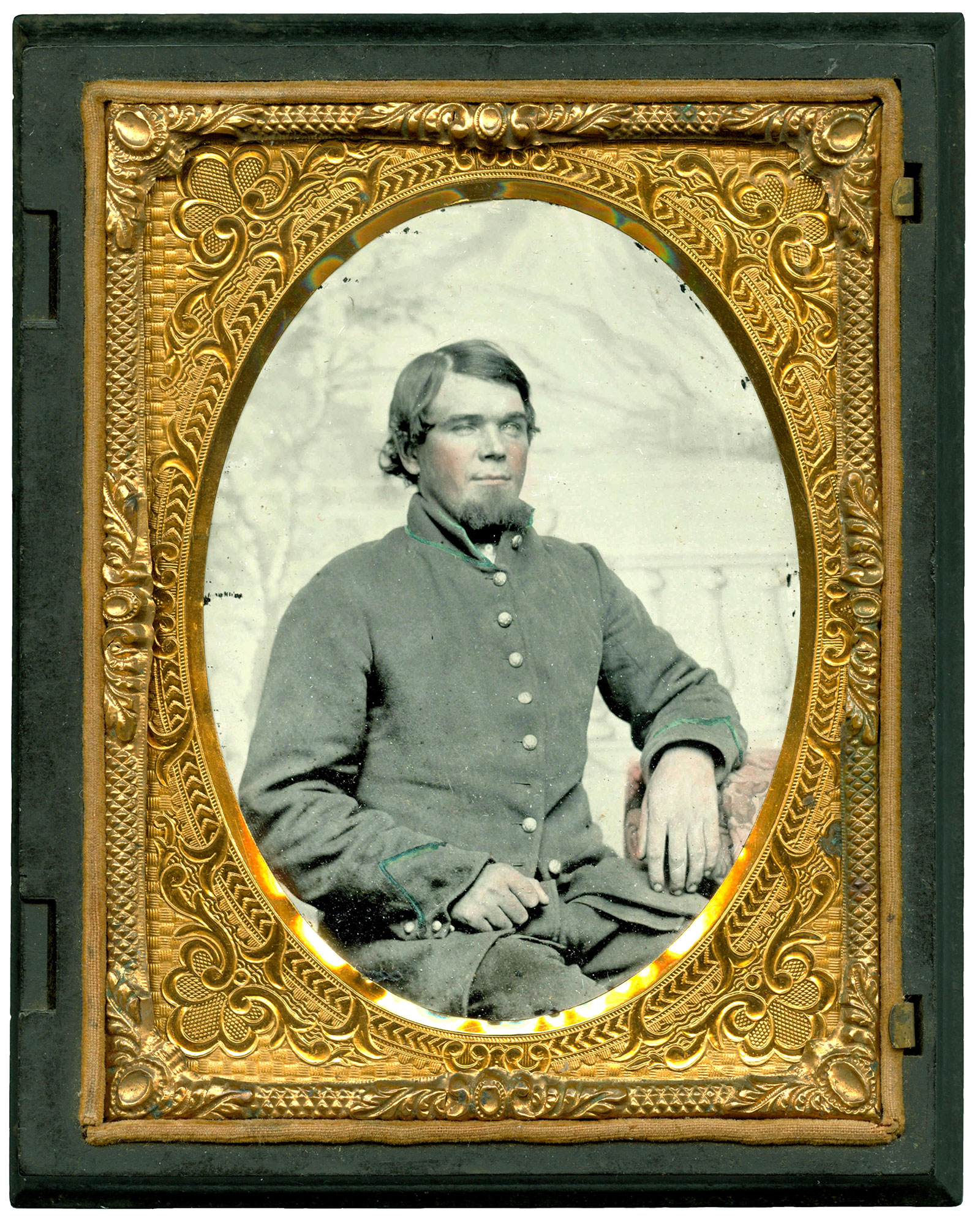Quarter-plate ruby ambrotype by an anonymous photographer. Ron Field collection.