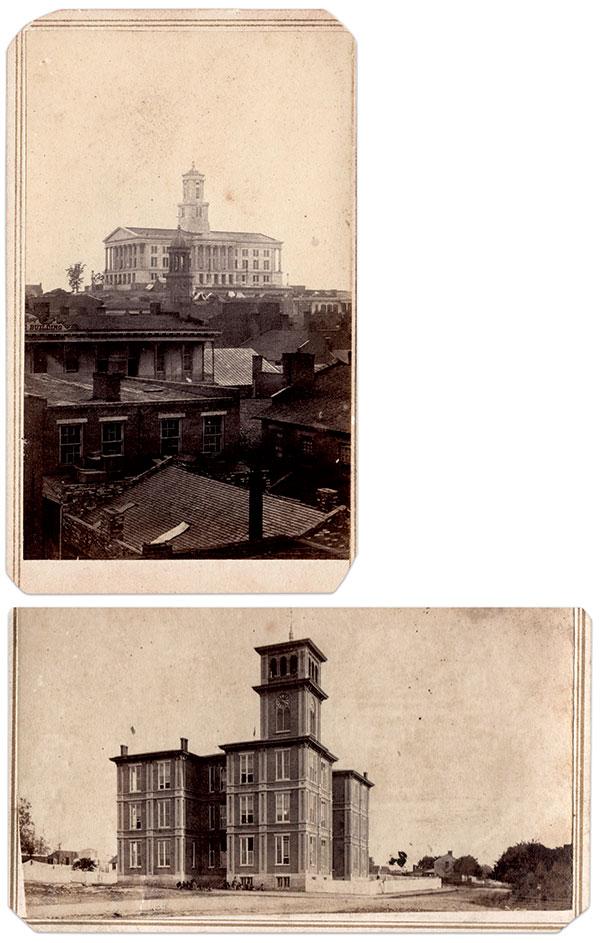 The Capitol. (Top.) Carte de visite by H. Hall of Nashville, Tenn. Jason Lynn Pate Collection. Howard School. (Bottom.) Carte de visite by Theodore M. Schleier of Nashville, Tenn. S.J. McConnell Collection.