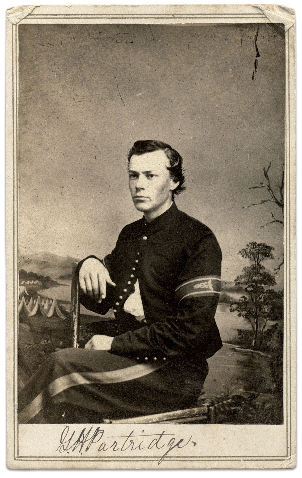 George H. Partridge, above, began his service in 1862 with the 29th Massachusetts Infantry. A year later in Kentucky, he fell ill and was hospitalized. Before the end of 1863 he joined the 47th Kentucky Infantry as a hospital steward. He appears here with the proper chevrons and the wide stripe of the non-commissioned officer on his trousers. He later became a captain in the 120th U.S. Colored Infantry. Carte de visite by an anonymous photographer. Ronald S. Coddington Collection.
