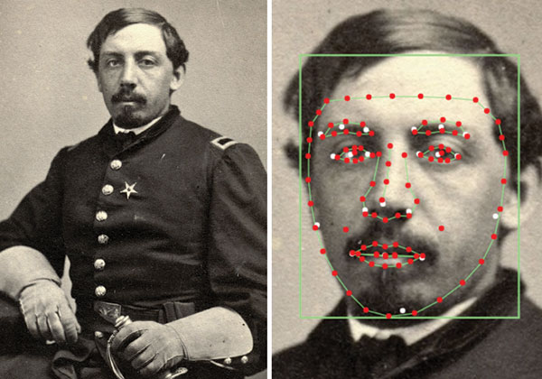 The face recognition technology used in CWPS displays unique reference points used for comparison to other images. Betaface.com.