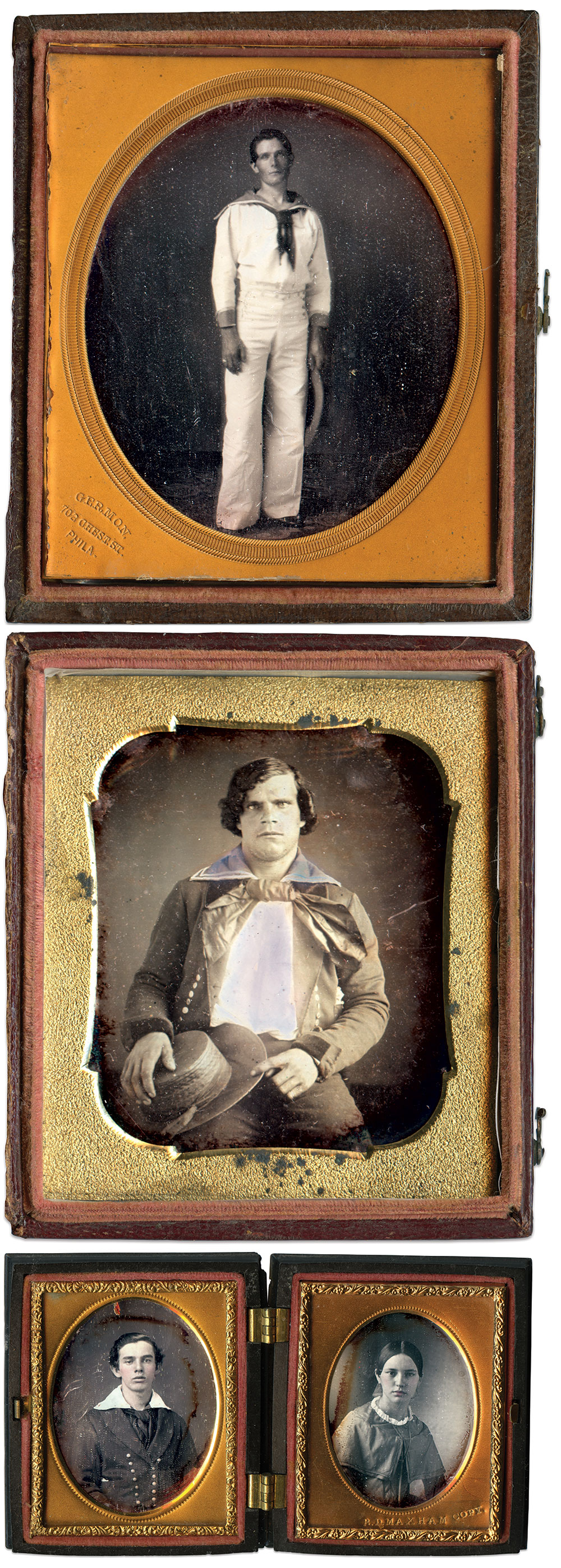 Quarter-plate daguerreotype by Washington L. Germon of Philadelphia, Pa.; Sixth-plate daguerreotype by an anonymous photographer; Ninth-plate daguerreotypes by Tabor & Co. of Boston, Mass., and Benjamin. D. Maxham of Worcester, Mass.