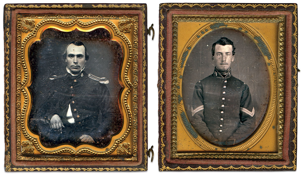 Ninth-plate, left, and sixth-plate daguerreotypes by anonymous photographers.