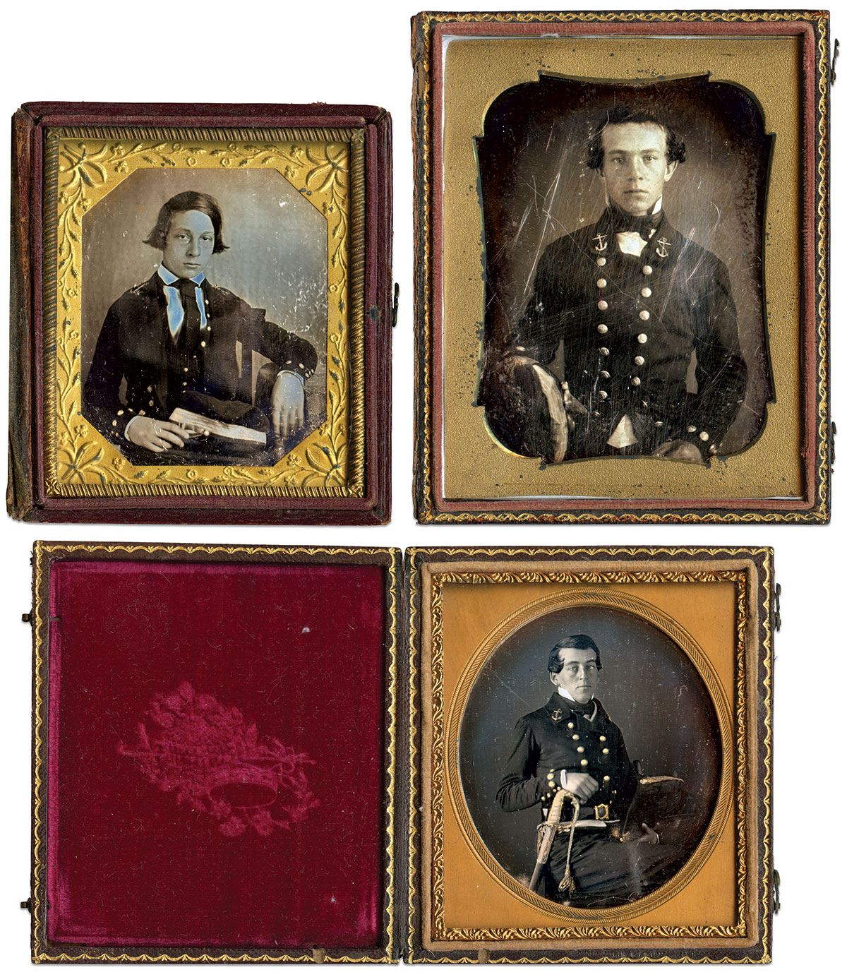 Daguerreotypes by anonymous photographers, clockwise from top left: sixth-plate, quarter-plate and sixth-plate.