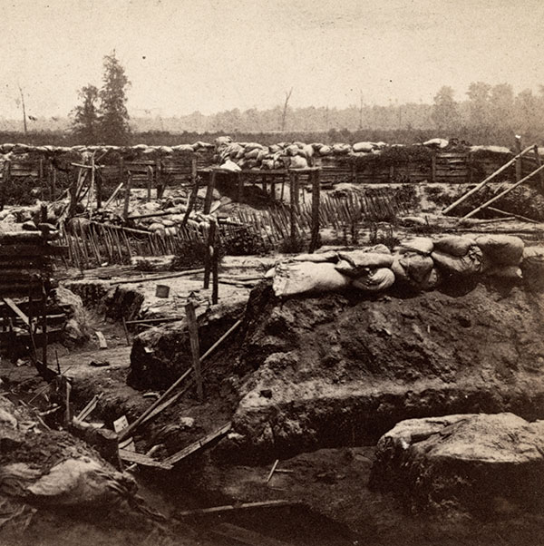 A detail of a stereoview by McPherson & Oliver of Baton Rouge, La., shows the damaged interior of Port Hudson after Union occupation in July 1863. Library of Congress.