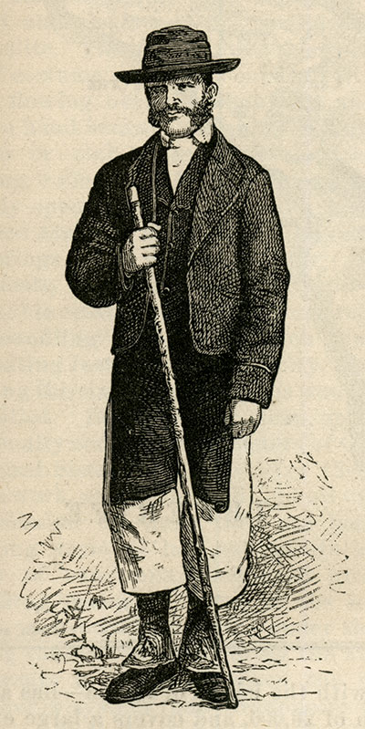 """The man in this engraving, from the two-part """"A Summer Cruise Among the Atlantic Islands"""" in the March and April 1877 issues of Harper's New Monthly Magazine, may be Gihon dressed in the costume of a citizen of Tenerife, the largest of Spain's Canary Islands."""