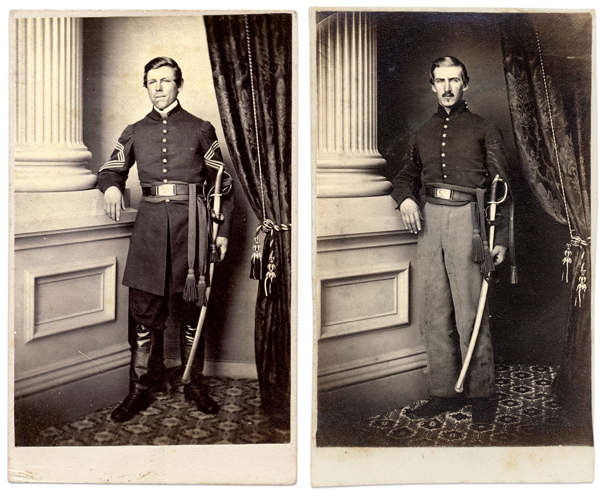 The studio setting and back mark in this carte of Noble Preston, left, to the portrait of Commissary Sgt. Whedon connected the photographs in the albums to the Tyson Brothers.