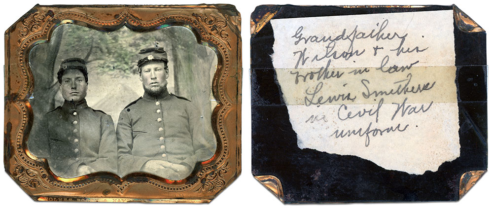 Pvt. George Wilson and Pvt. Lewis Smithers, Company G, 142nd New York Infantry. Sixth-plate tintype by an anonymous photographer. Author's collection.