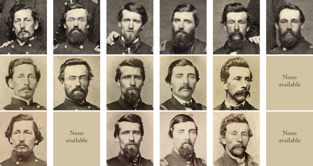 The six soldiers from the author's carte de visite are pictured along the top row: John Morrill, Michael W. Manning, Joseph S. Reynolds, Charles J. Conger, Duncan Reid and an unknown officer. The second row are available portraits of the men from Boys in Blue, and the third row are available portraits from the Michael Cunningham Collection.