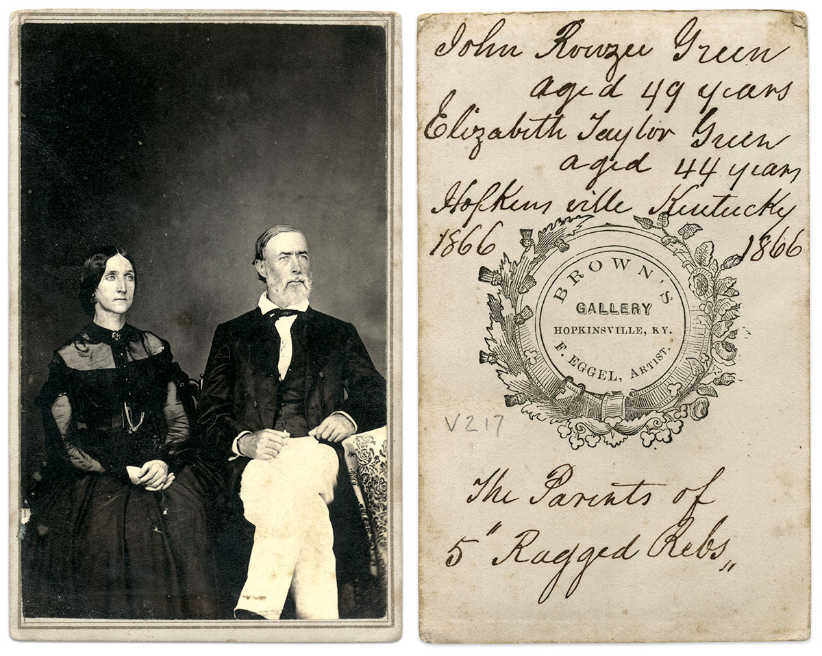 Carte de visite by Brown's Gallery of Hopkinsville, Ky. Ronald S. Coddington Collection.